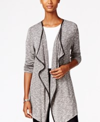 Styleandco. Style Co. Drape Front Faux Leather Trim Cardigan Only At Macy's Deep Black