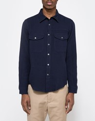 Creep By Hiroshi Awai Cotton Lawn Officer Shirt Navy