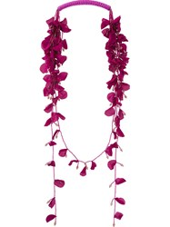 Etro Flower Petal Necklace Pink And Purple