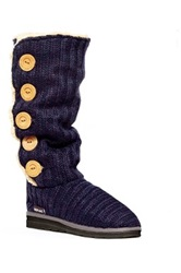 Muk Luks Malena Crochet Faux Shearling Button Up Boot Blue