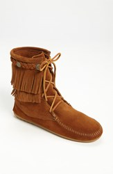 Minnetonka Women's 'Tramper' Double Fringe Moccasin Boot Brown Suede