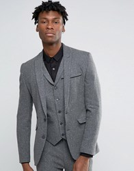 Asos Super Skinny Suit Jacket In Grey Neppy Texture Grey Blue