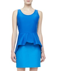 Halston Heritage Short Sleeve Colorblock Peplum Dress 6