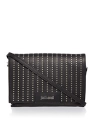 Just Cavalli Washed Calf Stud Black Crossbody Bag Black