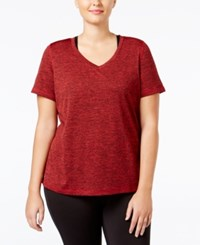 Ideology Plus Size Essential V Neck Performance T Shirt Only At Macy's Real Red