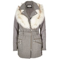 River Island Womens Grey Faux Fur Collar Padded Coat