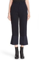 See By Chloe Women's Crepe Flared Hem Crop Pants Navy