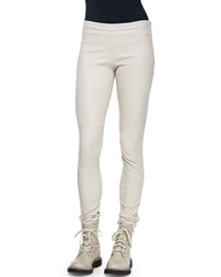 Brunello Cucinelli Side Zip Stretch Leather Leggings