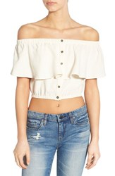 Women's Astr 'Rosa' Off The Shoulder Linen And Cotton Crop Top