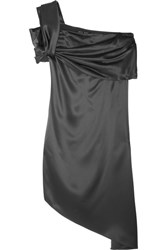 Baja East One Shoulder Asymmetric Satin Dress Gunmetal