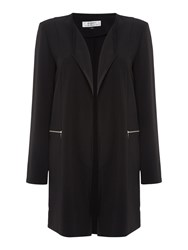 Tahari By Arthur S. Levine Asl Black Topper Coat With Long Collar Black
