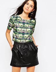 Oh My Love Box Crop Top In Palm Print Palm Tree Multi