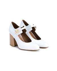 Marni Patent Leather Mary Janes With Wooden Block Heel White Denim