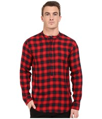 Publish Seann Brushed Plaid Popover Woven Red Men's Clothing