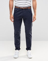 Esprit Garment Dye Chinos Trousers In Slim Fit Petrol Blue