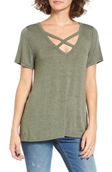 Socialite Women's Strap Front Tee Olive