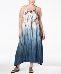 Raviya Plus Size Tie Dyed Lattice Back Cover Up Dress Women's Swimsuit Grey
