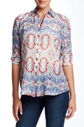 3J Workshop Printed Split Collar Blouse Multi