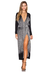 Norma Kamali Dolman Wrap Dress Black And White