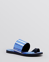 Tory Burch Flat Toe Ring Slide Sandals Kempner Tory Navy Havaiano