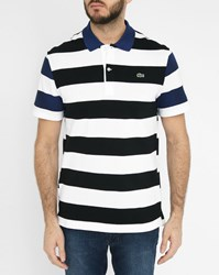 Lacoste Navy Polo Shirt With Blue Striped Sleeves