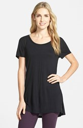 Women's Halogen Side Slit Long Scoop Neck Tee Black