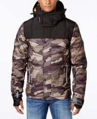 Superdry Men's Puffer Coat Camo Green Black