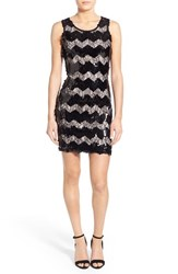 Junior Women's As U Wish Zigzag Sequin And Lace Dress