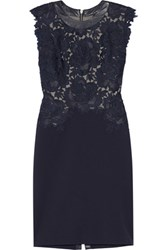 Catherine Deane Lace And Stretch Cady Dress Navy