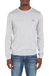 Lacoste Men's Jersey Knit Crewneck Sweater Silver Grey Chine