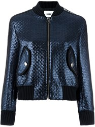 Msgm Woven Bomber Jacket Blue