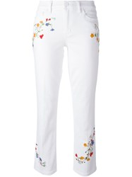 Tory Burch Embroidered Slim Fit Cropped Jeans White