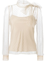 Red Valentino Sheer Polka Dot Bow Blouse Nude And Neutrals