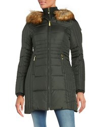 Vince Camuto Slim Fit Faux Fur Hooded Puffer Jacket Hunter