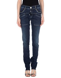 High Denim Denim Trousers Women Blue