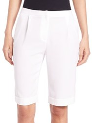 Elie Tahari City Crepe Shorts Optic White