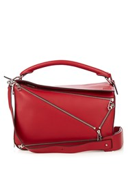 Loewe Puzzle Zips Leather Bag Red
