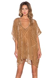 The Ldrs Velvet Chevron Caftan Dress Brown