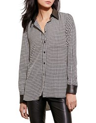 Lauren Ralph Lauren Plus Faux Leather Trimmed Houndstooth Shirt Black Cream