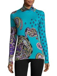 Etro Printed Silk And Cashmere Turtleneck Sweater Blue