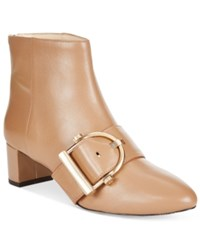Nine West Konah Buckle Block Heel Booties Women's Shoes Natural Leather