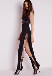 Missguided Lace Insert Split Maxi Skirt Black Black