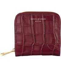 Aspinal Of London Mini Continental Mock Croc Leather Purse Bordeaux
