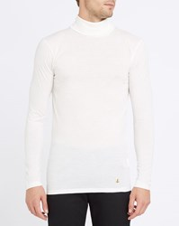 Armor Lux Ecru Polo Neck Ultra Fine Cotton And Wool Sweater Beige
