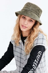 Urban Outfitters Suede Bucket Hat Olive