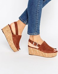 Faith Damage Tan Cork Effect Wedge Sandals Tan