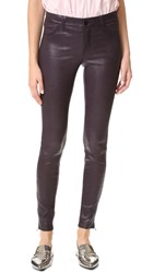 J Brand Mid Rise Stretch Leather Pants Black Plum