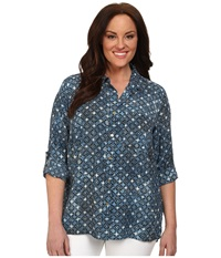 Michael Michael Kors Plus Size Munabao Hi Lo Button Down Top Heritage Blue Women's Blouse Navy