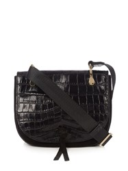 Elizabeth And James Zoe Crocodile Embossed Leather Cross Body Bag Black