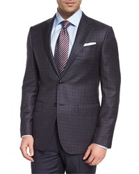 Ermenegildo Zegna Check Two Button Wool Jacket Gray Burgundy